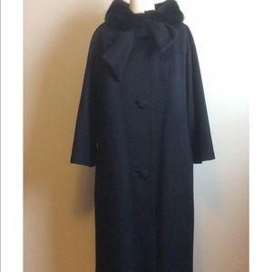 Vintage Jackets & Coats - Vintage 1950s Black Wool Lilli Ann Swing Coat